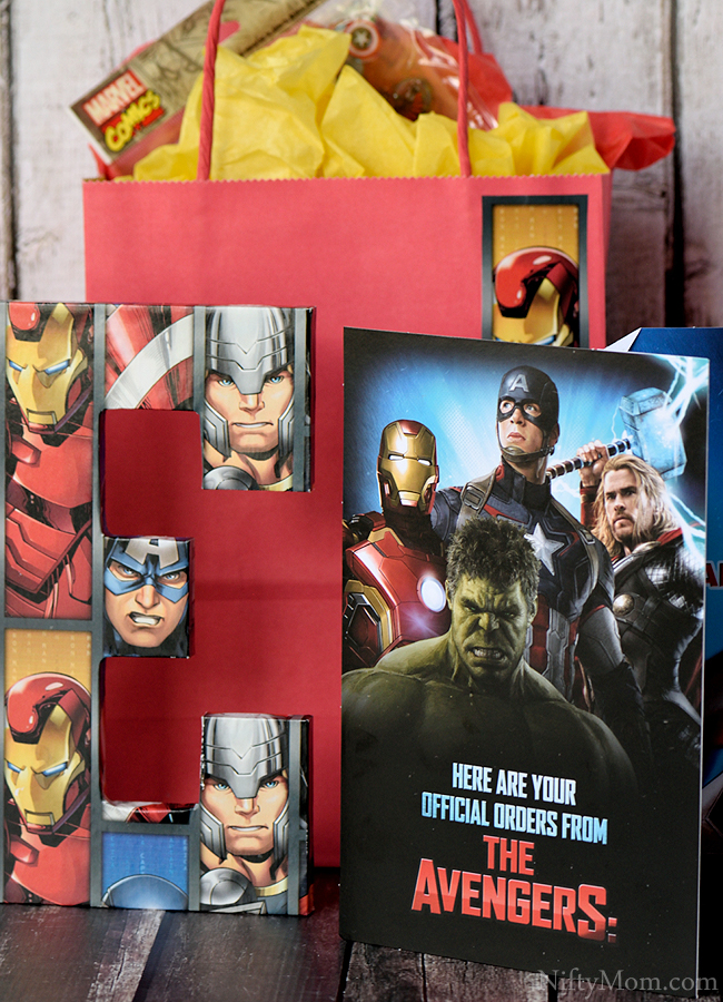 DIY Avengers Initial Sign Covered in Wrapping Paper & Gift Idea #SendSmiles