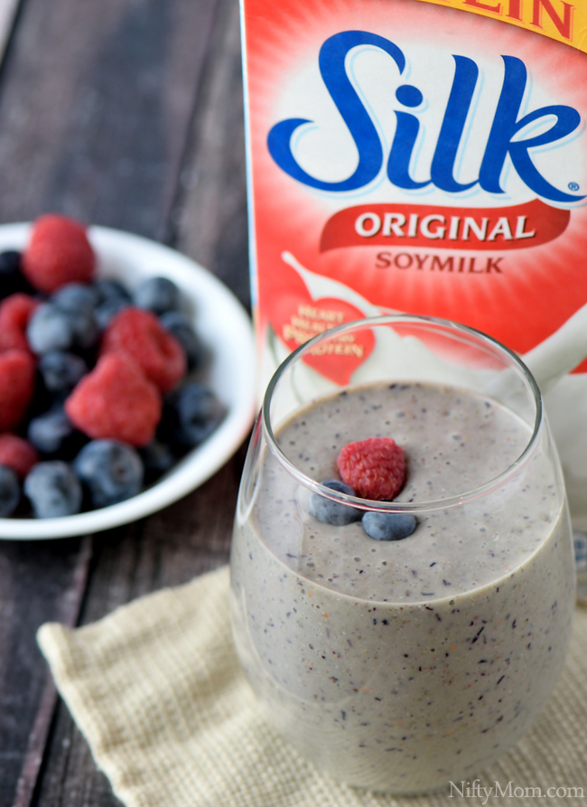 Adding Silk Soymilk to Berry Smoothies