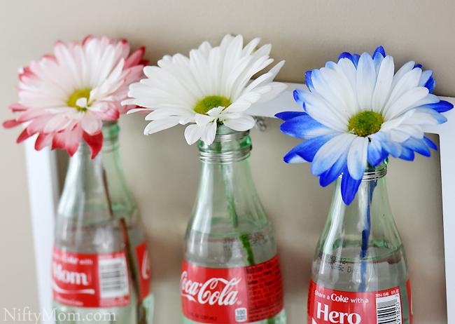 Wall Flower Vases with Coke Bottles