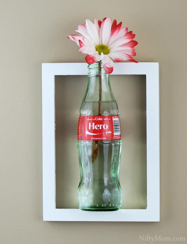 Glass Coke Bottle Flower Vase on a Frame - Tutorial