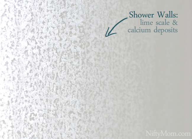 Shower Walls with Lime Scale & Calcium Deposits #ZepSocialstars
