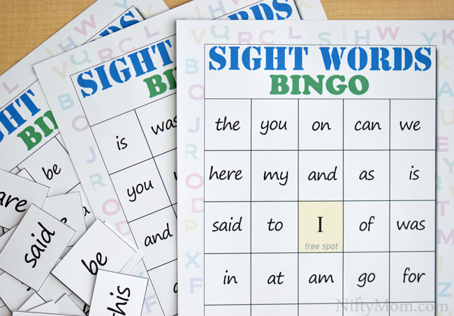 Sassy image for sight word bingo printable
