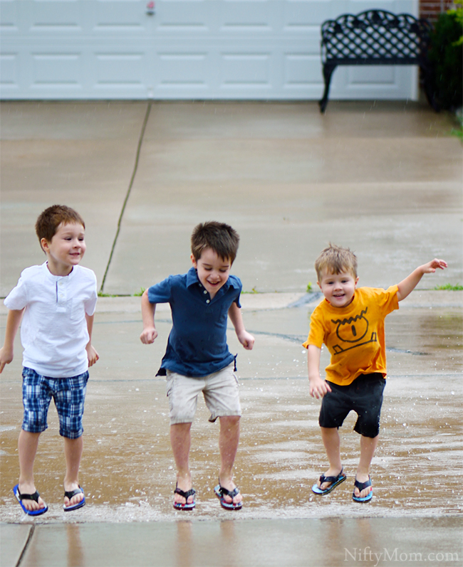 Boys Puddle Jumping