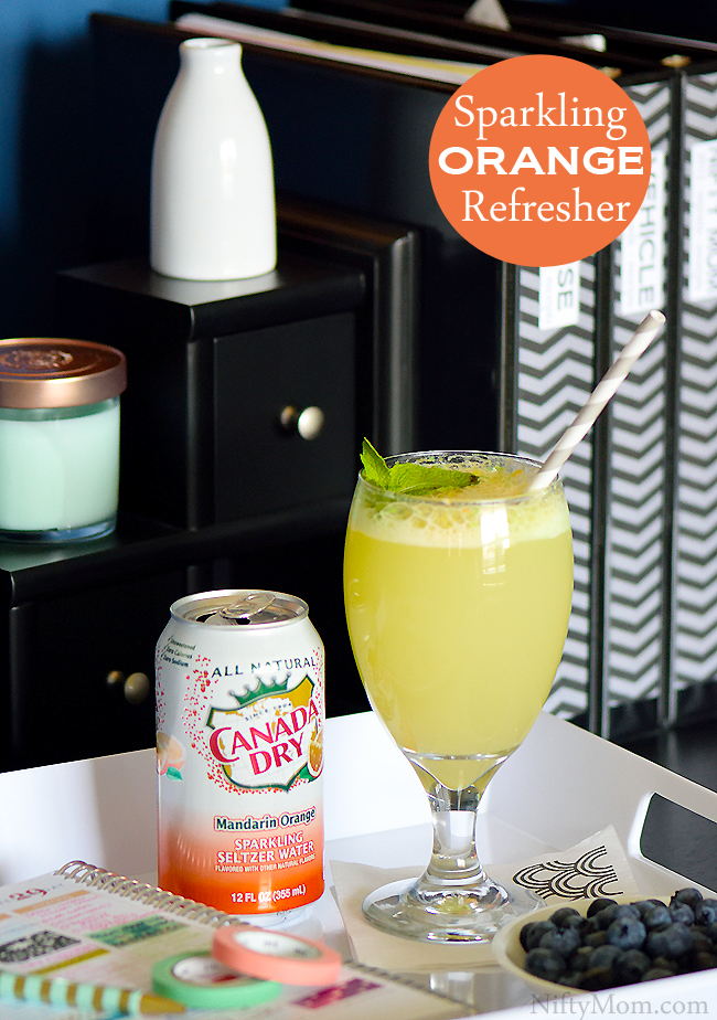 2-Ingredient Sparkling Orange Refresher #WaterOnlyBetter