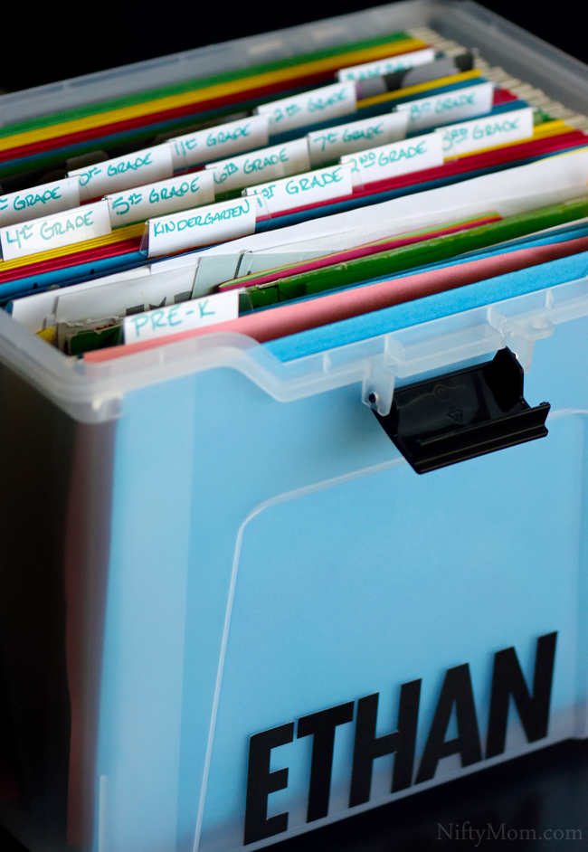 How to Organize School Paperwork Memorabilia #WaterOnlyBetter