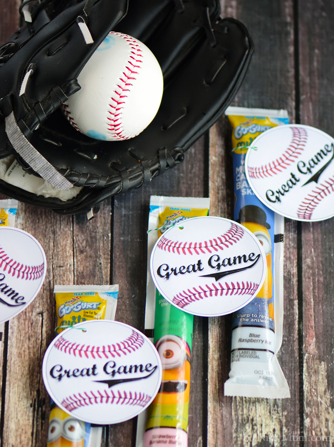 Printable Baseball Post-Game Snacks Tag