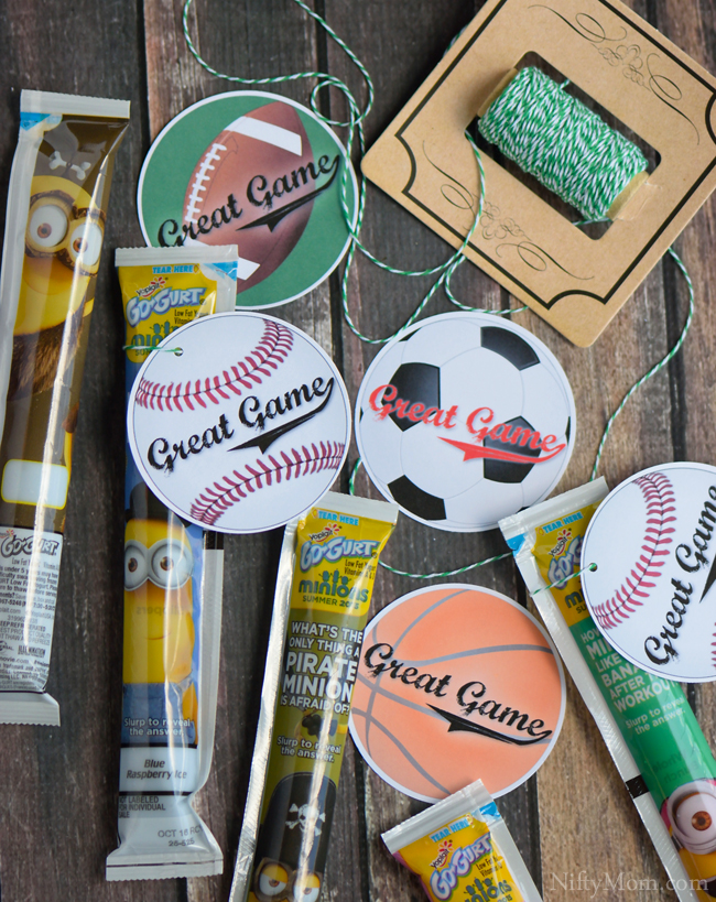 Free Printable Post Game Snack Tags for Baseball, Soccer, Football and Basketball