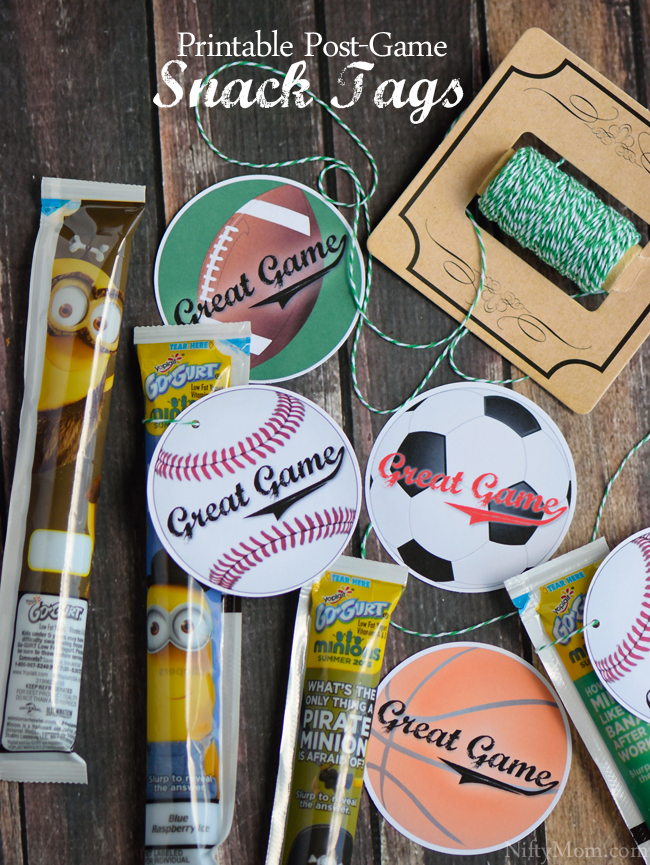 Free Printable Post-Game Snack Tags