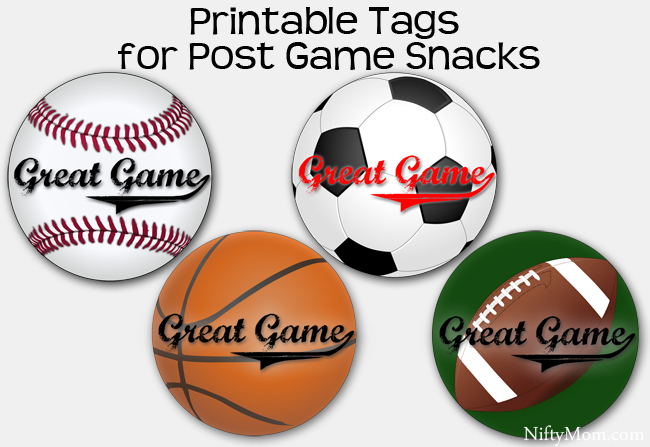 Printable Tags for Post Game Snacks for Youth Sports