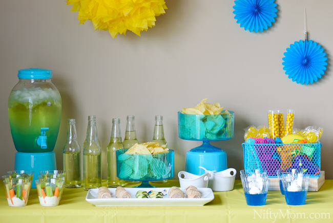 Blue yellow indoor summer party ideas Summer party themes