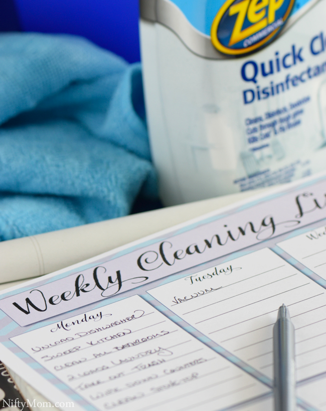 Weekly Cleaning List #ZepSocialStars