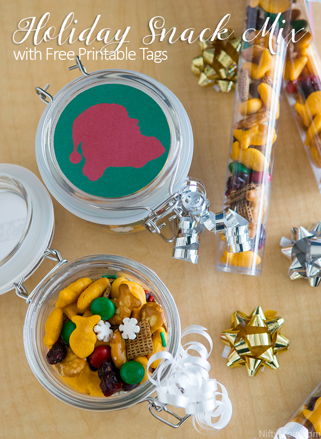 Holiday Snack Mix with Free Printable Tags