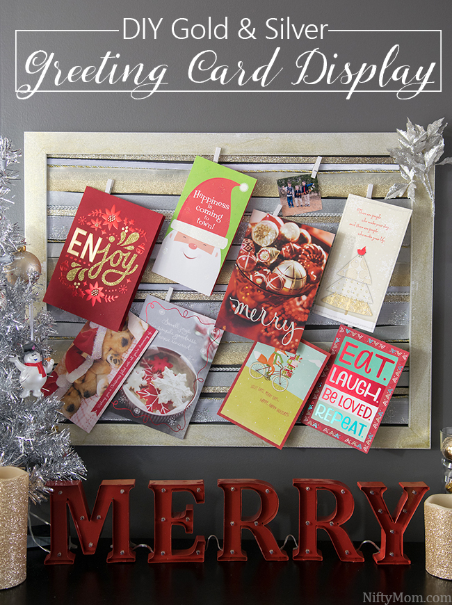 Diy gold silver christmas card display diy holiday greeting card display made with an old wood frame ribbon m4hsunfo