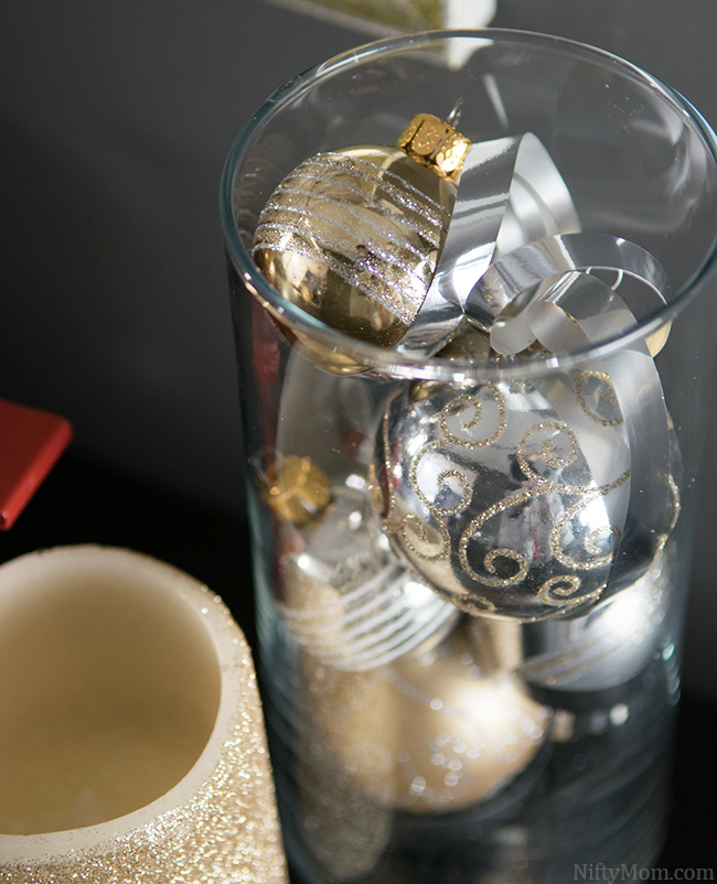 Easy Holiday Decor Idea - Fill a large vase with small ornaments