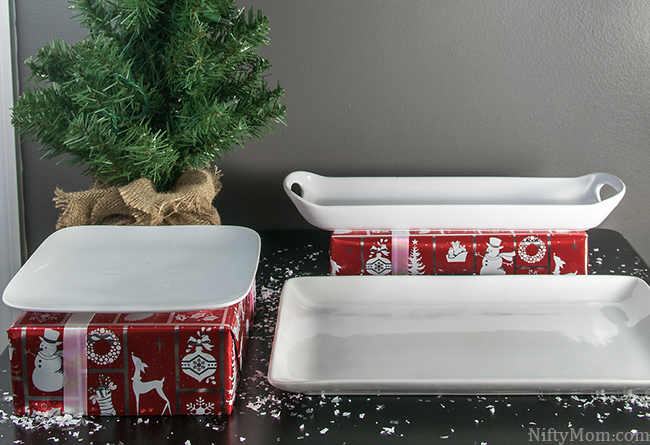 Easy Holiday Appetizer Setting - Wrap empty boxes to set dishes on!