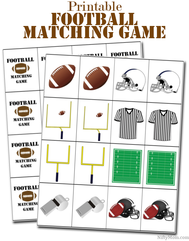 picture regarding Free Printable Football named Printable Soccer Matching Activity for Little ones