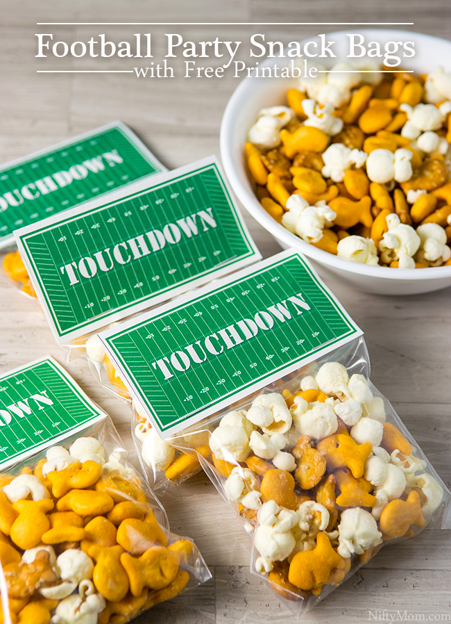 Football Party Snack Bags with Free 'TOUCHDOWN' Printable
