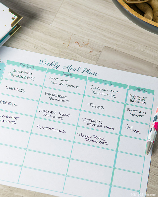 Free Printable Weekly Menu Plan