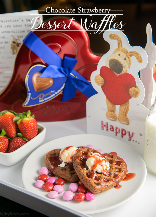 Heart Shaped Chocolate Strawberry Dessert Waffles