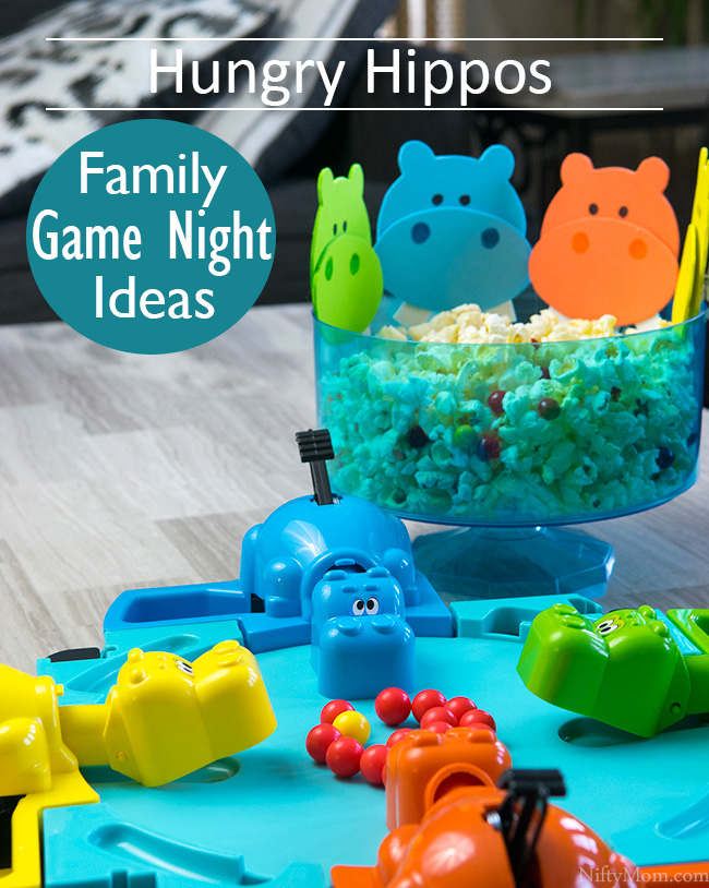 Hungry Hungry Hippos Family Game Night Ideas - Hippo craft & a snack mix!