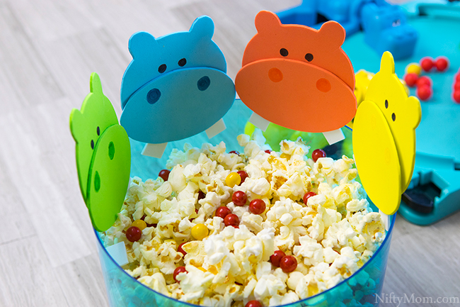 Hungry Hungry Hippos Game Night Ideas (snack mix & printable hippo template)