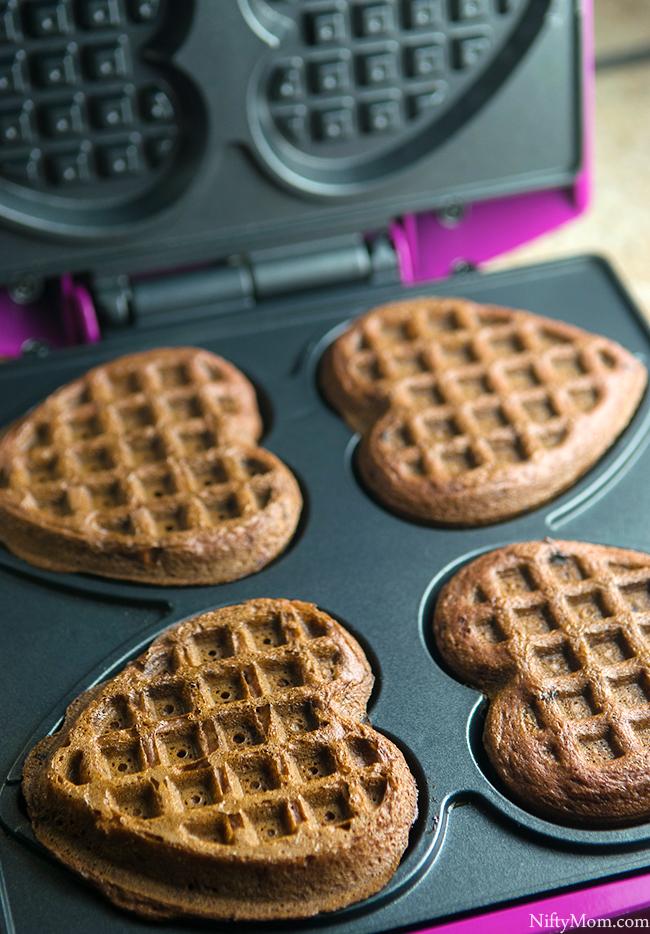 Making Chocolate Strawberry Dessert Waffles