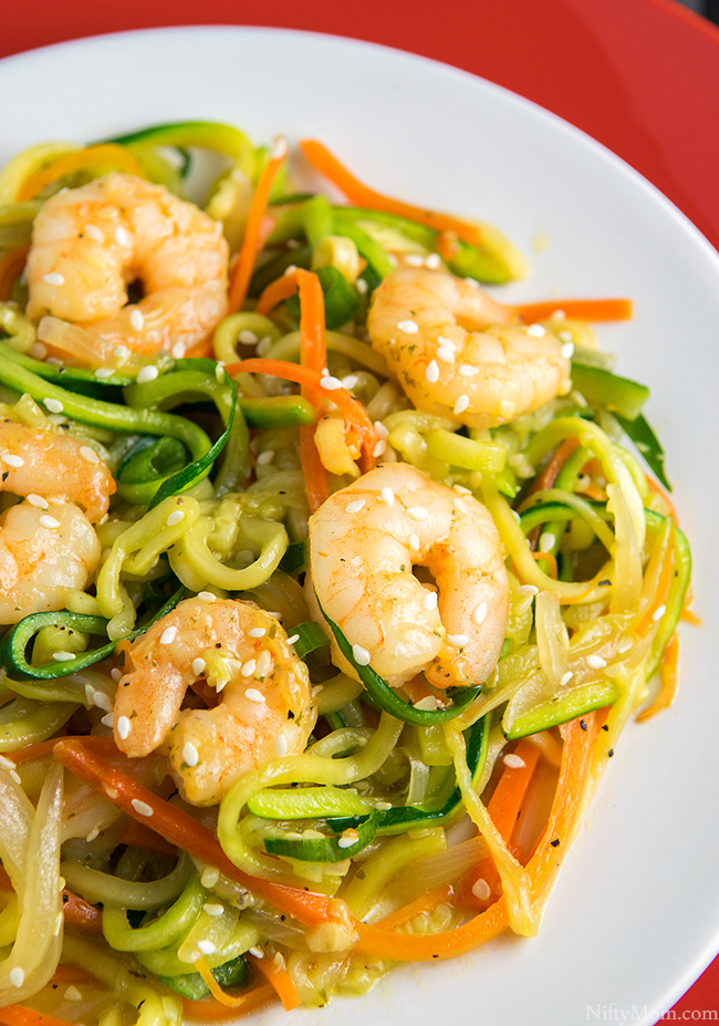 Easy Zucchini Noodle Shrimp Stir Fry Recipe