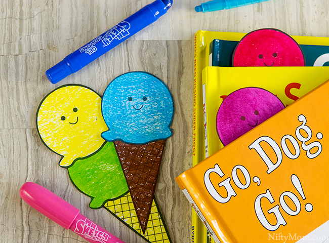 DIY Scented Ice Cream Cone Bookmarks with Free Printable