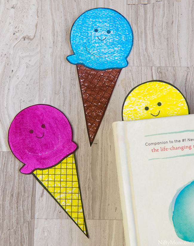 diy scented ice cream cone bookmarks