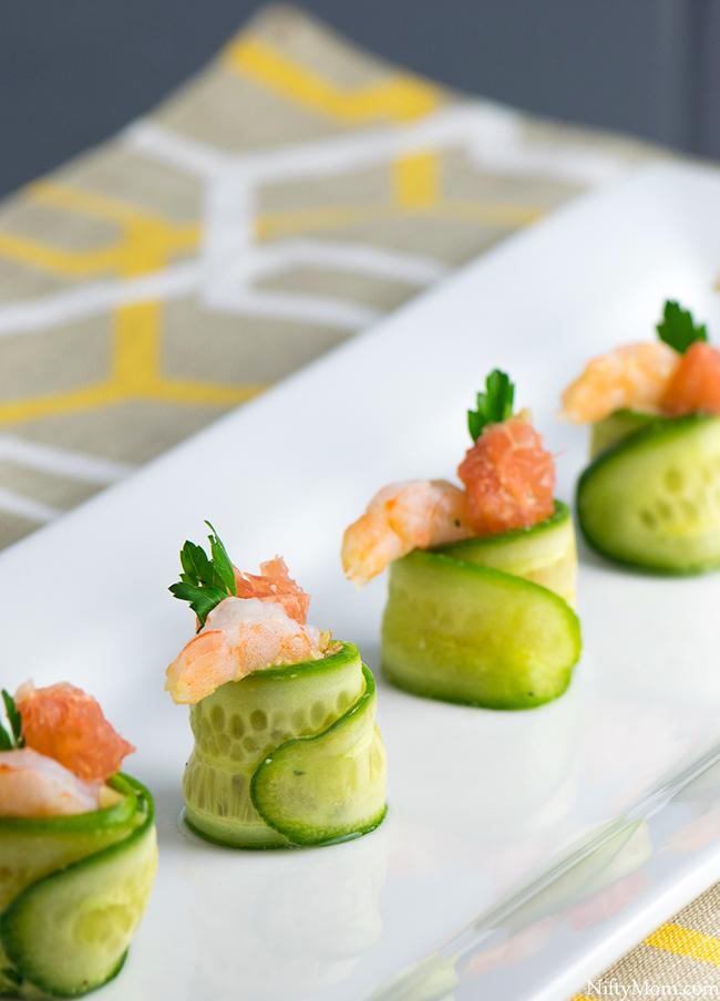Shrimp & Grapefruit Cucumber Rolls - Appetizer Idea