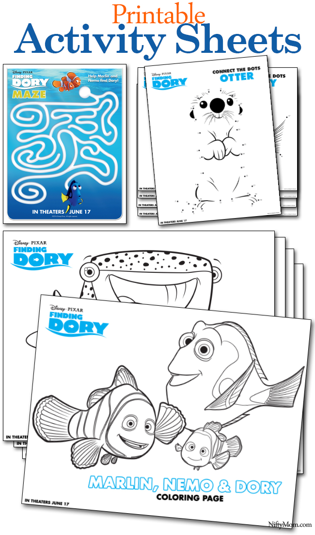 FINDING DORY Printable Coloring Pages & Activity Sheets