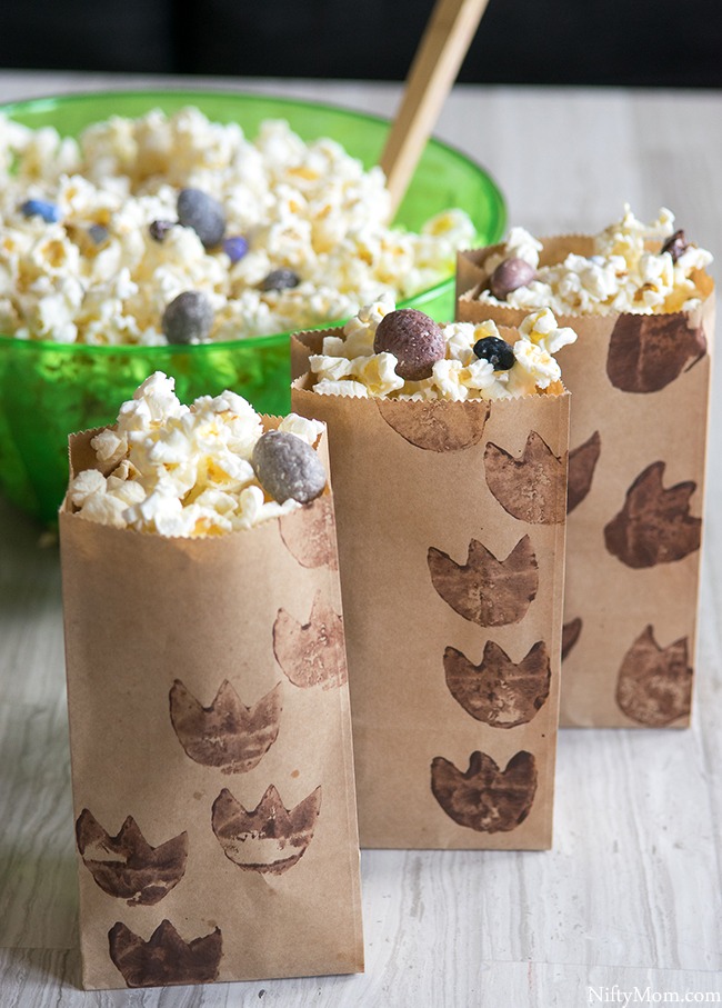 DIY Dino Tracks Snack Bags & Dino-Inspired Popcorn Mix