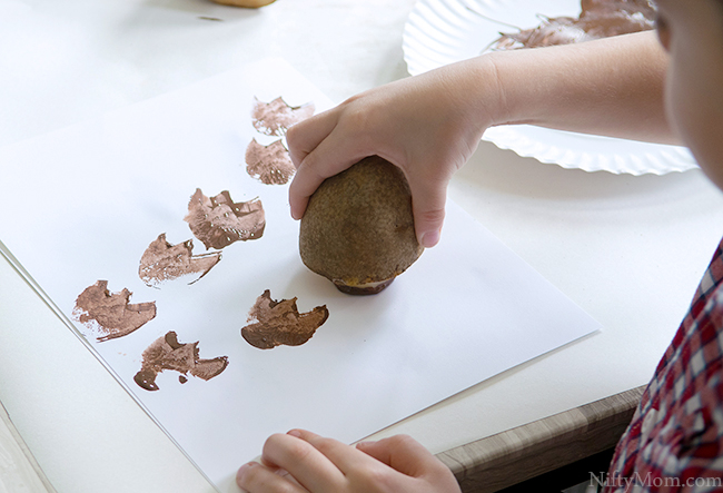 DIY Dino Tracks (footprints with potatoes)