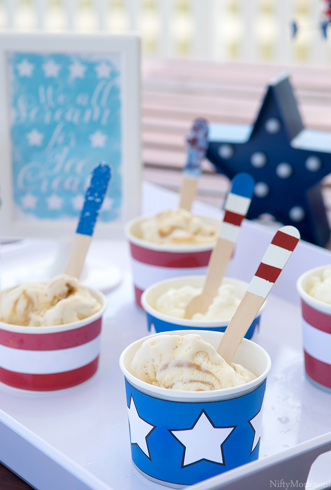 DIY Ideas & Printables for Summer Ice Cream Days (perfect for the 4th of July, Memorial Day, barbecues or any summer day!)