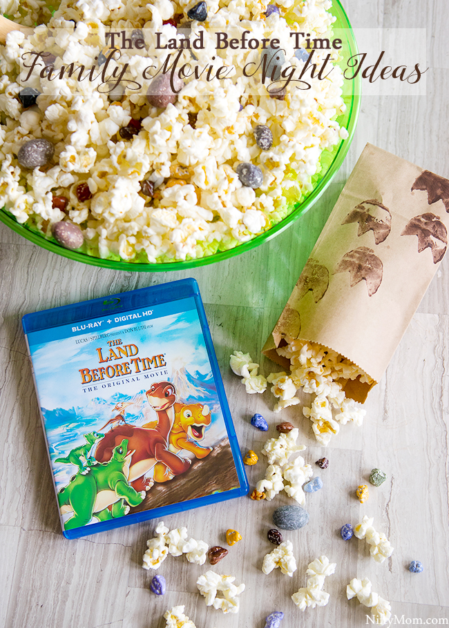 The Land Before Time Family Movie Night Ideas with DIY Dino Tracks Snack Bags & Dino-Inspired Popcorn Mix