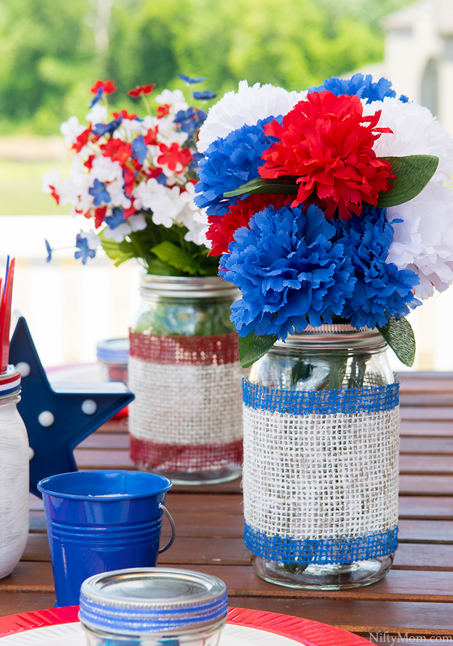 DIY Painted Burlap Mason Jars & Outdoor Table Decor Ideas
