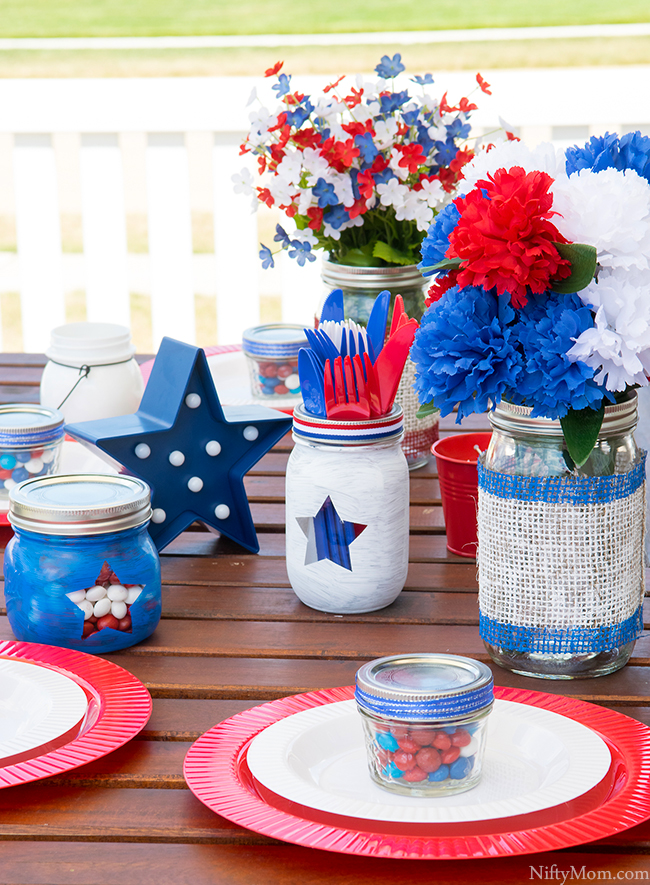 DIY Mason Jars & Outdoor Table Decor Ideas - Red, White, & Blue Theme