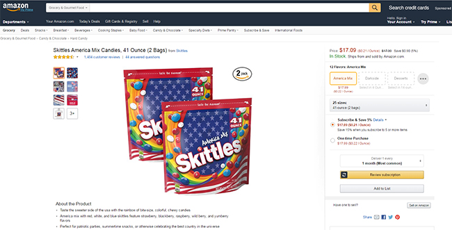 Skittles America Mix on Amazon