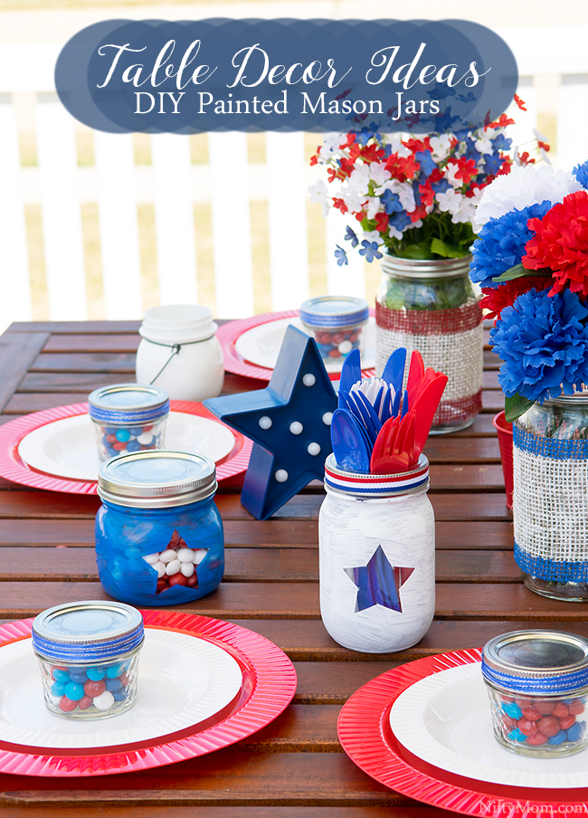 DIY Painted Mason Jars & Outdoor Table Decor Ideas