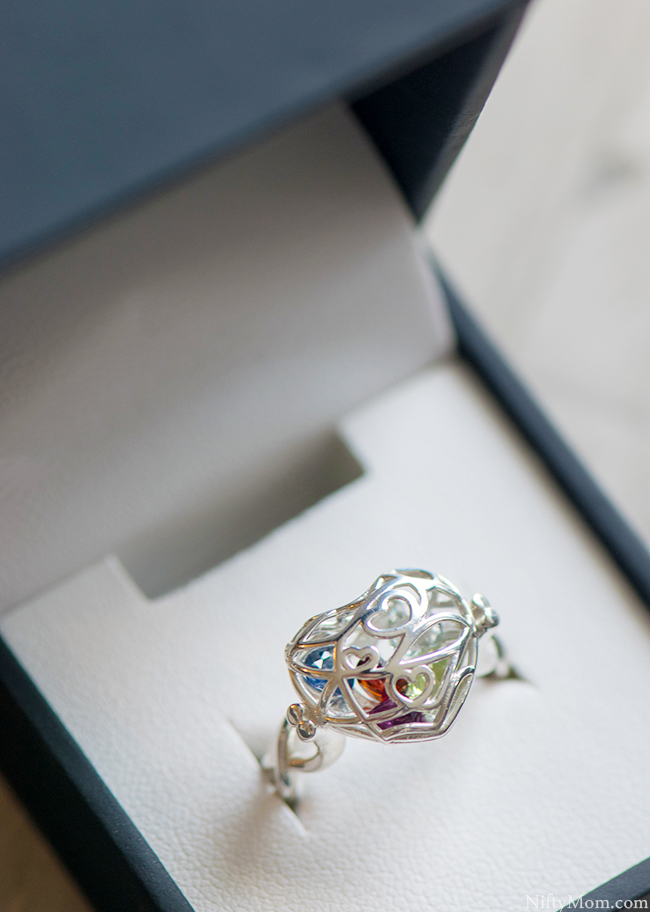 Unique Mothers Ring - Personalized with heart design and encased heart birthstones