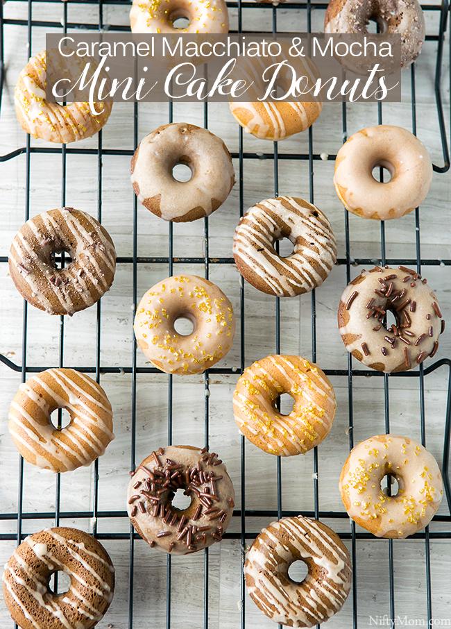 Mini Caramel Macchiato & Mocha Cake Donuts