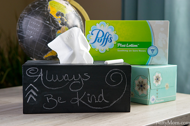 How to Make a Chalkboard Tissue Box Cover for Puffs