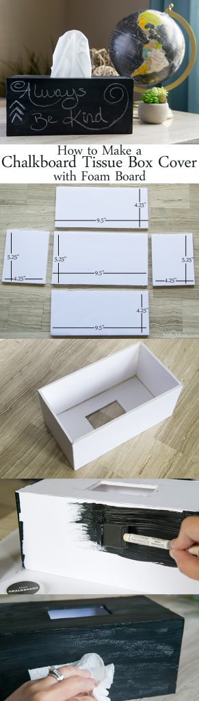 DIY Chalkboard Tissue Box Cover using Foam Board! Easy to make and would be a great gift!