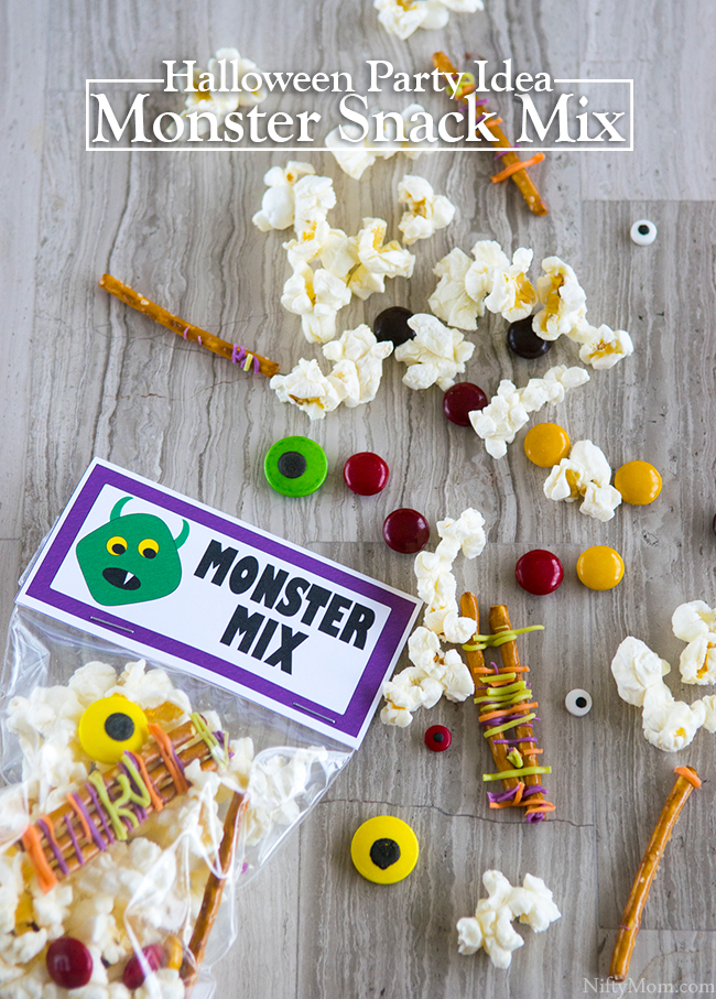 Halloween Party Idea - Monster Snack Mix with free printable treat bag label!