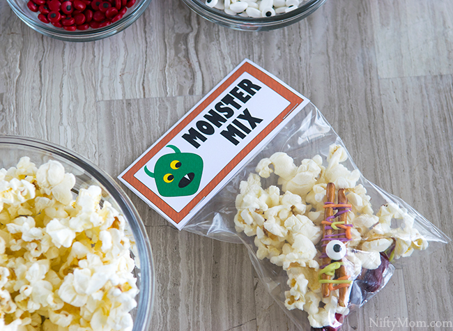 Monster Snack  Mix with Printable 'Monster Mix' Treat Bag Labels