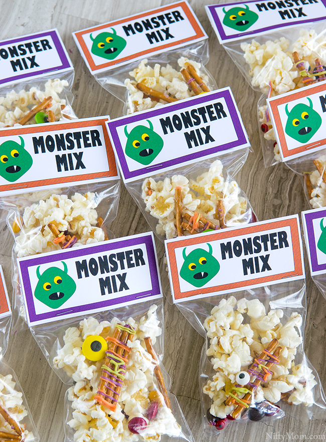 Monster Party Snack Mix with Printable Labels