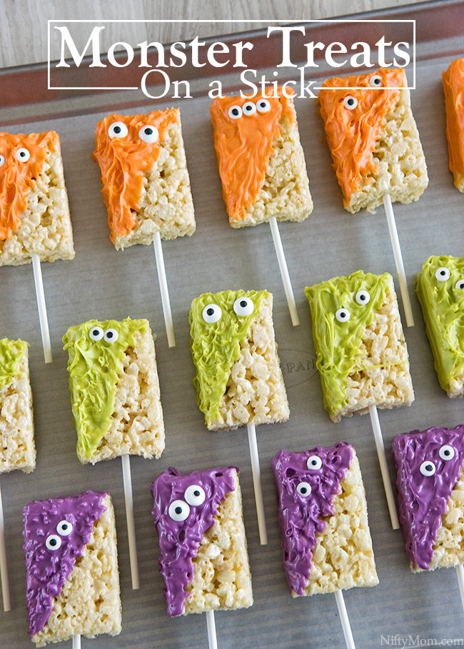 monster treats made with rice krispies treats great for halloween parties