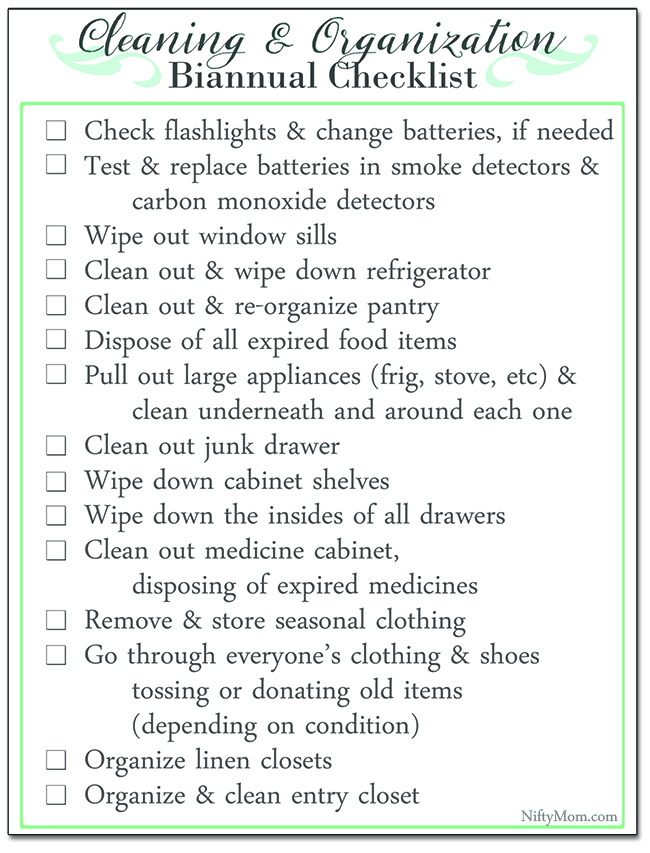 Free Printable Biannual Household Cleaning & Organization Checklist - Perfect for daylight savings time!