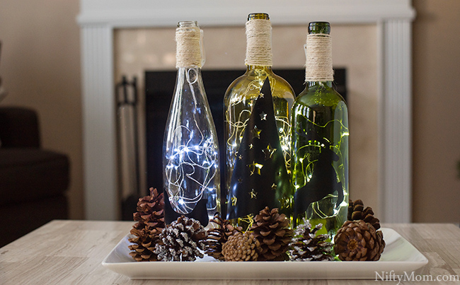 diy lighted wine bottle holiday decor centerpiece - Christmas Wine Bottle Decorations