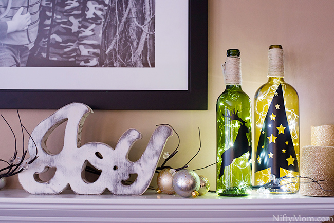 DIY Lighted Wine Bottle Holiday Decor